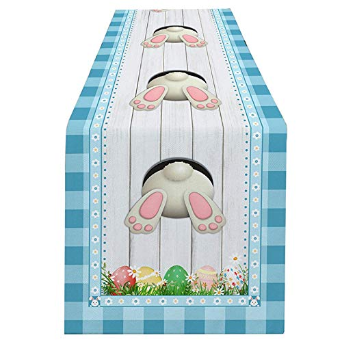 CarJTY Bunny Tail Easter Eggs Table Runner Double Sided Rabbit Flowers Spring Table Runners Cloth Washable Egg Hunt Kitchen Dining Fabric for Home Happy Easter Day Decorations