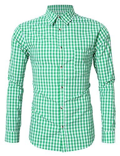 KOJOOIN Herren Trachtenhemd Slim fit kariert Langarmhemd Bestickt Baumwolle- (Verpackung MEHRWEG), Grüne-2019, Gr.- M / 36