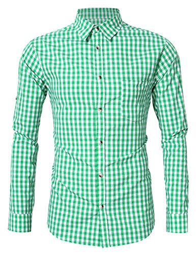 KOJOOIN Herren Trachtenhemd Slim fit  kariert Langarmhemd Bestickt Baumwolle- (Verpackung MEHRWEG), Grüne-2019, Gr.- XL / 40