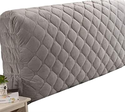 Bed Headboard Cover Crystal Velvet All-Inclusive Bed Headboard Slipcover Protector with Stretch Side and Pocket Dustproof Cotton Cover for Bedroom Decor Gray-130cm