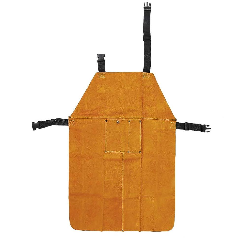 朝可決アーク耐摩耗性溶接安全エプロン、増粘耐熱溶接エプロン調整可能な牛牛革安全スーツ、作業保護服
