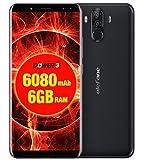 Ulefone Power 3 - FHD 6.0 pollici (rapporto 18: 9) Schermo Corning Gorilla Glass 4 Smartphone Android, Octa Core 2.0 GHz 6 GB + 64 GB, Riconoscimento viso Hi-Fi 4 fotocamera Batteria 6080mAh - Nero