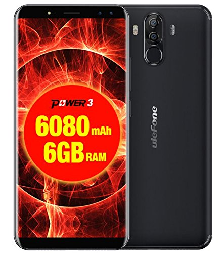 Ulefone Power 3 Cell Phone 6.0 inch 18:9 FHD P23 Octa Core 6GB RAM 64GB ROM Smartphone 21MP Quad Camera Face ID 4G Mobile Phone