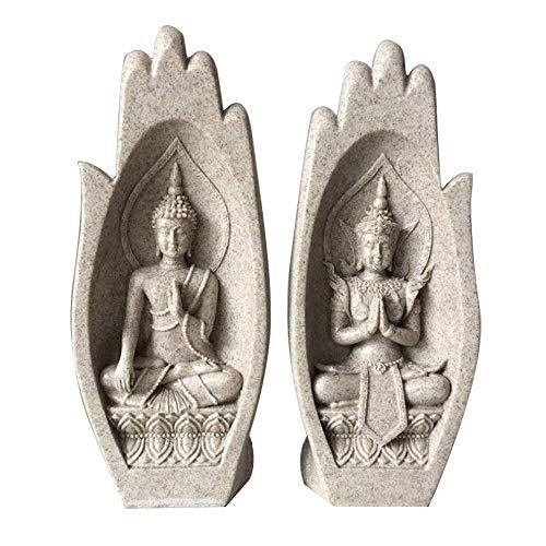 GAOPENG Zwei Verschiedene Buddha-statuen Sind In Die Handfläche Gehauen, Buddha-wohnzimmerdekoration, Skulptur Für Die Dekoration Und Sandsteinharz-Ornament (8,5 X 6 X 21 cm),Sandstone