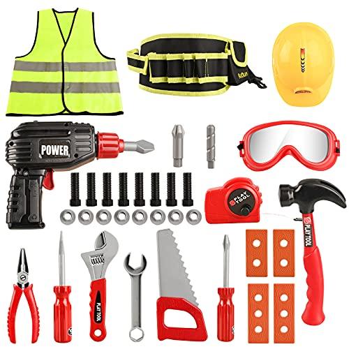 FUQUN Juego de herramientas de juego para niños - 36 piezas de herramientas de construcción con taladro eléctrico, cinturón de herramientas para niños de 3, 4, 5, 6 años