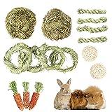 LLGL-EU 15 Stück Kaninchen Kauspielzeug, Natürlich Timothy Grasbälle Grasringe Grasstäbe Maiskolben Kleintiere Zahnpflege für Hamster Häschen Chinchilla Meerschweinchen Rennmäuse