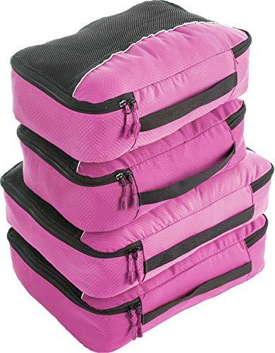 Bago 4Pz Cubi Di Imballaggio - Set per Viaggi (2+2-Pink)+ 6Pz Sacchetti Organizzatori per i bagagli