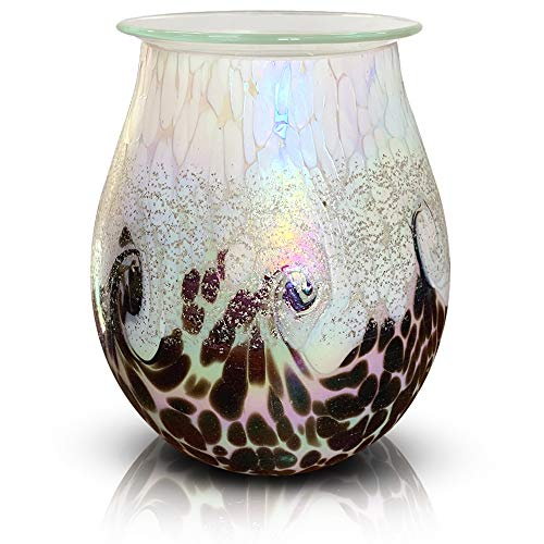 PUSEAYZ Scented Wax Warmer Art Glass Electric Wax Burner Candle Melter Night Light for Gifts&Decor, Home, Office, Bedroom Living Room(White).