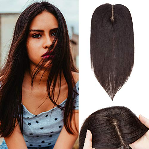 (15-50cm) Toupet Capelli Veri Donna Extension Clip 10 * 12cm Hair Topper Extension Capelli Umani 30cm-40g #2 Marrone Scuro