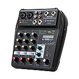 Table-Mixage-Audio-USB-Bluetooth, Moman AM4 Mélangeur de 4 canaux Entrée Mono Stéréo Alimentation Fantôme 48V pour l'Accord de la Scène, le KTV Domestique, Studio Les Petits Clubs ou Bars