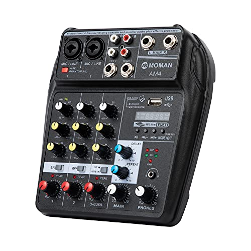 Moman Mischpult-Interface-Audio-Mixer-USB, Bluetooth 4-Kanal DJ Audiomischer, 2 Mono 1 Stereo Eingang, XLR 48V-Phantomspeisung, EXF Reverb Effect für PC Streaming, Karaoke, Mikrofon, Gitarre AM4