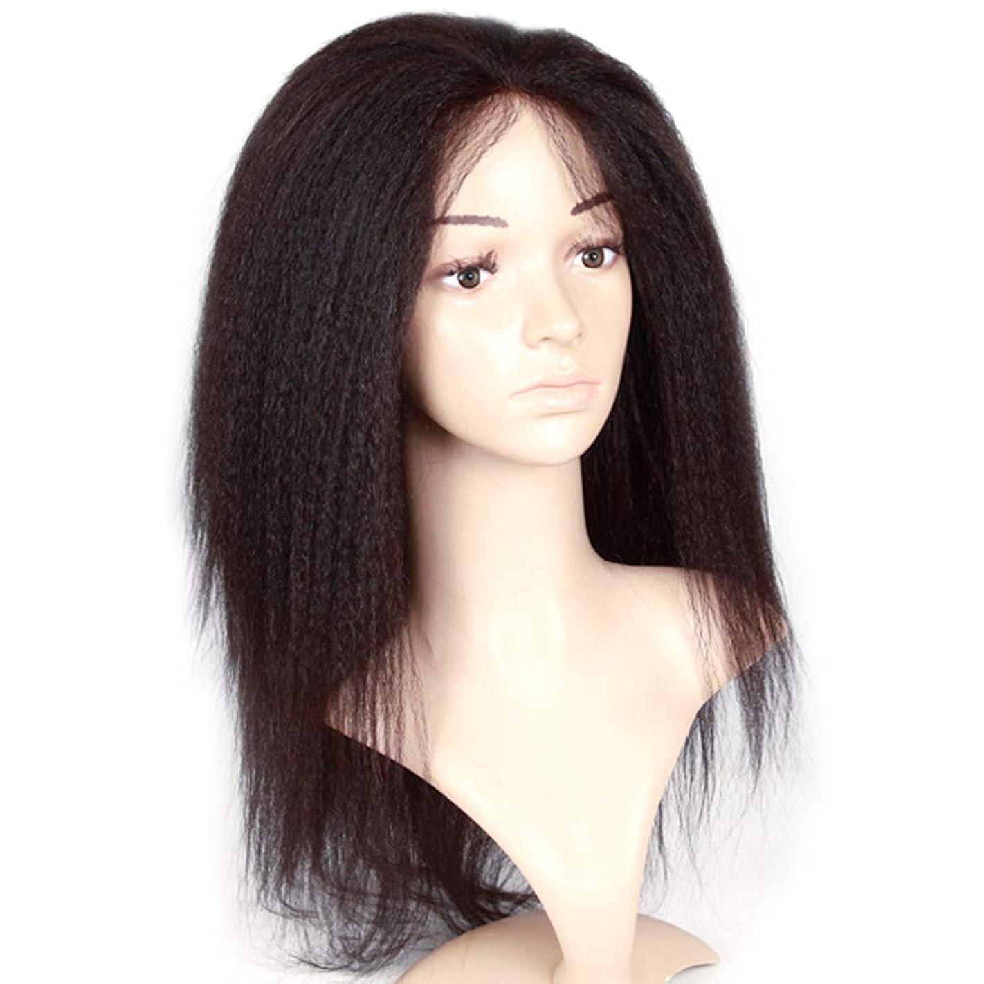 しわ裕福な称賛レースフロントかつらふわふわブラジル人のremy女性人間の髪の毛ストレートヘアレースかつら赤ん坊の毛髪用180%密度黒22インチ
