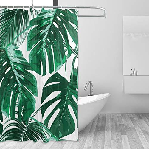 ZOEO Palmen-Duschvorhang für Badezimmer, grün, tropisches Hawaii-Stoff, Duschvorhang-Set, Dschungelblätter, Hintergr&, 12 Haken, wasserdicht, Polyester, waschbar, altes 152,4 x 182,9 cm
