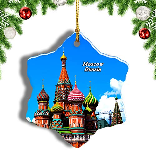 Weekino Russia Moscow St Basile Red Square Christmas Ornament Travel Souvenir Tree Hanging Pendant Decoration Porcelain 1705' Double Sided