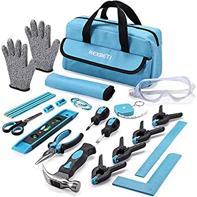 REXBETI 25-Piece Kids Tool Set with Real Hand Tools, Durable Storage Bag, Children Learning Tool Kit for Home DIY and Woodworking