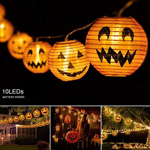 vanow Halloween String Lights Halloween Decorations-10LED Halloween Pumpkin Lights Jack-O-Lantern Pumpkin String Lights Battery Powered Halloween Lights for Indoor Outdoor Halloween Party Supplies