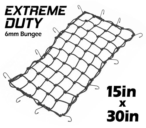 15in x 30in PowerTye Mfg EXTREME Duty Cargo Net with 6mm Premium Elastic, 3in x 3in Mesh and Rubber-Tipped Super Strong Metal Hooks, Black