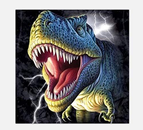 Rsabub Kit De Pintura De Diamantes 5D para Adultos,Dinosaurio 30x30cm,Bordado Punto de Cruz Kits de Suministro de Arte Manualidades Lienzo decoración de la Pared del hogar