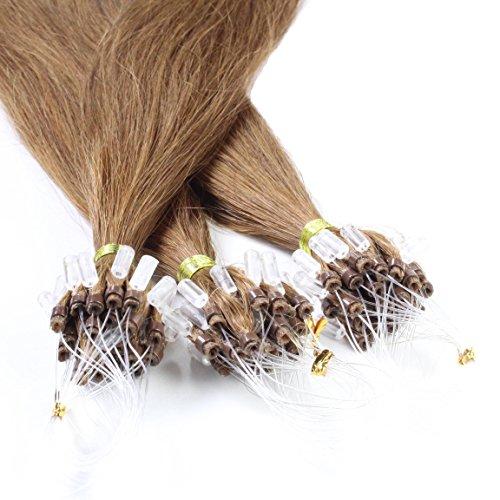 hair2heart 50 x 0.5g Echthaar Microring Loop Extensions, 50cm - glatt - #8 hellbraun