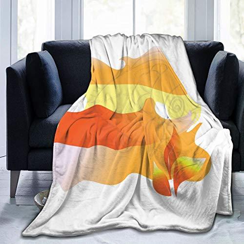 Manta mullida, imagen retro de un pez dorado con dibujo a mano alzada de cara infeliz, ultra suave, manta para bebé, cama, cama, TV, manta de 152 x 127 cm