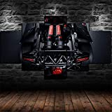 45Tdfc 5 Piezas Lienzo Grandes XXL Murales Pared Hogar Pasillo Decor Arte Pared Abstracto HD Impresión Foto Black Lamborghi Engine Super Car 150X80 Cm(Enmarcado)