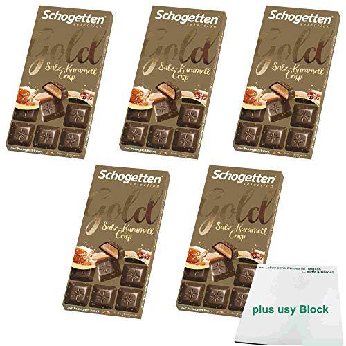 Schogetten Gold Salz-Karamell Crisp 5er Pack (5x100g) + usy Block