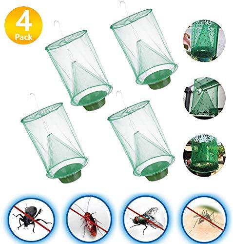 RHESHINE Ranch Fliegenfalle grün Käfig Insektenfänger mit Futternapf 2020 Neue Insektenfalle Outdoor Fliegenfängerkäfig für Innen oder Außen, Familienfarmen, Park, Restaurants Fliegen/Mücken/Bienen
