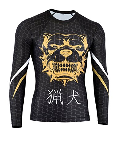 Verus Rashguard Long Sleeve MMA BJJ Jiu Jitsu Grappling Fitness Training No Gi (Large, Pitbull)