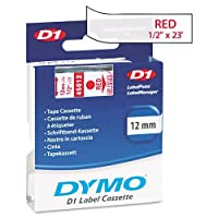 DYMO : D1 Standard Tape Cartridge for Dymo Label Makers, 1/2in x 23ft, Red on Clear -:- Sold as 2 Packs of - 1 - / - Total of 2 Each by DYMO