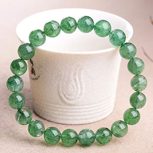 WCOCOW Feng Shui Pulsera para Mujer Pulsera De Cristal para La Protección El Brazalete De Cristal De Cuarzo Verde De Fresa Verde Brazalete Elástico Tallado Mantra Talismán,12MM