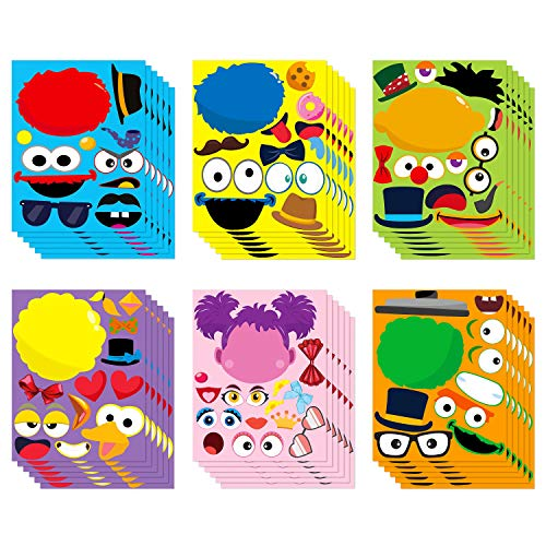 PANTIDE 36Pcs Sesame Make-a-face Stickers Sheets, Make Your Own Sesame Stickers for Kids, Sesame Party Supplies Party Favor, Sesame Mix and Match Stickers with Elmo Cookie Monster Big Bird