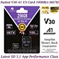 64GB 128GB Micro SD SDXC V30 A1 Memory Card Plus Adapter Pack (Class 10 U3 UHS-I MicroSD XC Extreme Pro) Amplim 64 GB Ultra High Speed 667X 100MB/s UHS-1 TF Flash MicroSDHC 4K