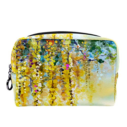 Cosmetic Bag Womens Makeup Bag for Travel to Carry Cosmetics,Change,Keys etc Spring Yellow Flowers Wisteria
