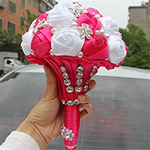 s-ssoy wedding bouquet bride bridal brooch bouquets bridesmaid bouquet diamond pearl ribbon valentine's day confession party church with free corsage flower, rose+white silk flower arrangements