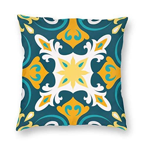 Fundas de cojín decorativas con decoración tradicional oriental, patrón mediterráneo sin costuras, fundas de almohada cuadradas para sofá, sala de estar, 45,7 x 45,7 cm