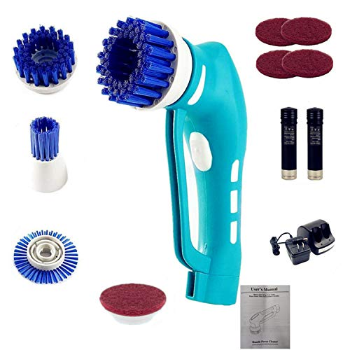 Cordless Electric Scrubber, Power Spin Scrubber, Handheld Power Scrubber with 4 Spin Scrubber Brushes Heads for Tiles,Showers, Bathroom, Windows, Kitchen {Lightweight and Heavy-Duty