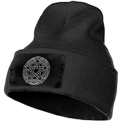 JSHG JDJG Unisex Knitted Hat Fashion Skull Cap Knitting Hats - Celtic Knot Pentacle Black