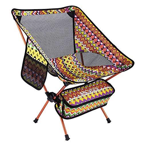 ANCHEER アウトドアチェア 折りたたみ キャンプ椅子 アルミ【耐荷重150kg】コンパクト 900g イス 椅子 収納袋付属 釣り 登山 携帯便利 (オレンジ)