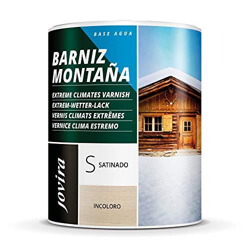 BARNIZ MADERA MONTAÑA AL AGUA Para el cuidado y la decoración de maderas en exterior. (750 ML, SATINADO)