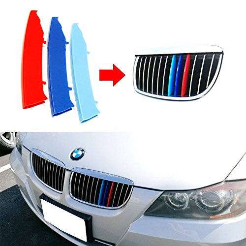 lanyun M Colors(red Blue Light Blue) Grille Insert Trims Decorate for 2003-2008 E90 E91 Pre-LCI 3 Series w/12-Beam Grill