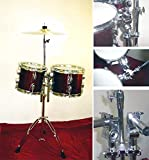 """NEW WINE RED 8""""&10"""" CONCERT TOMS DRUMS With HARDWARE.FREE 14"""" CYMBAL"""