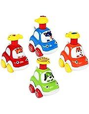 Welltop Leksaksbilar, Leksaksbilar, 4st. Pressa och gå tidigt Söt tecknad skog Djurodling Fantasi Friktionsdrivna leksaksfordon för 1 2 3 4 år Småbarn Barn
