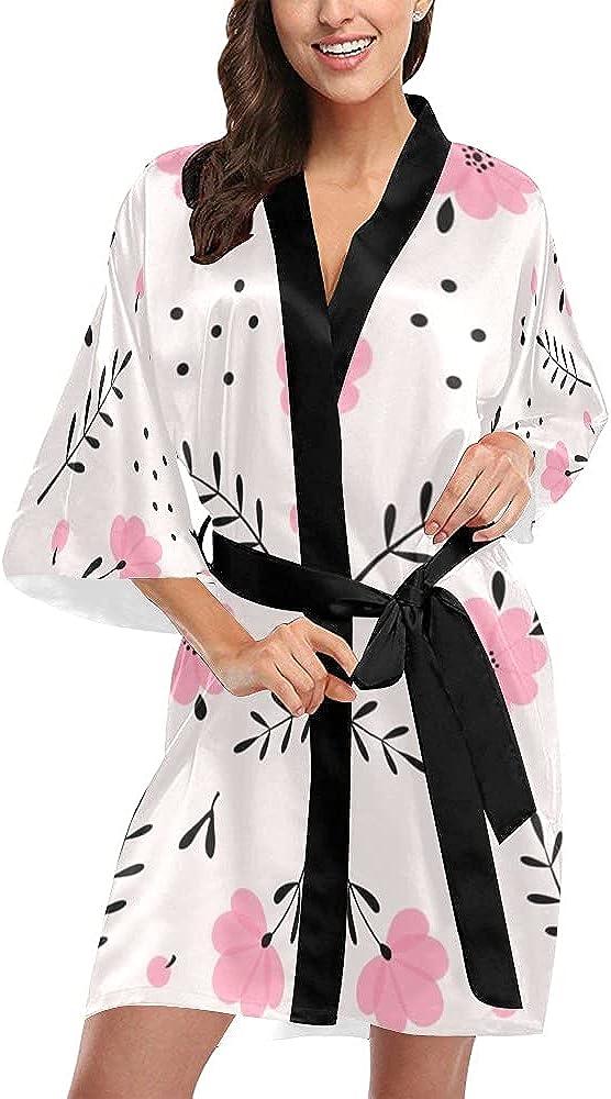 Quinn Cafe Women's Pink Flower Art trend rank Kimono store Brid Short Robe Bridal