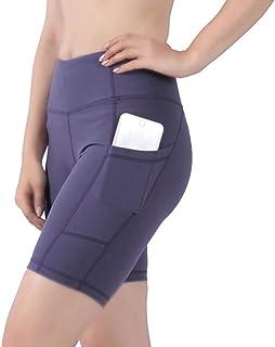DD DEMOISELLE Women High Waist Stretchy Tummy Control Yoga Shorts with Pockets