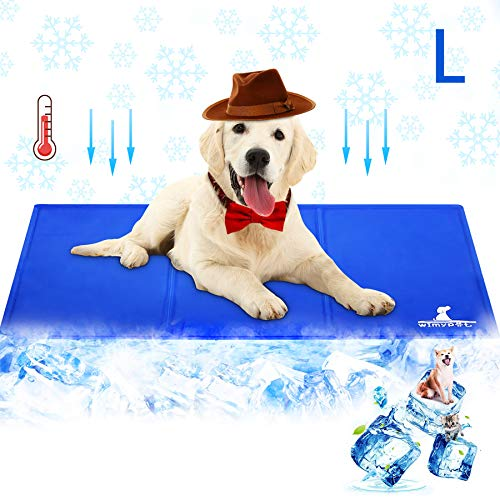 Wimypet Alfombra Refrescante para Perro, Alfombrilla para Animales, Manta de Dormir Fresco para Perros/Gatos, Manta Refrescante Perro No Tóxico Mascotas y Gatos en Verano - Azul (50 * 90cm) 🔥