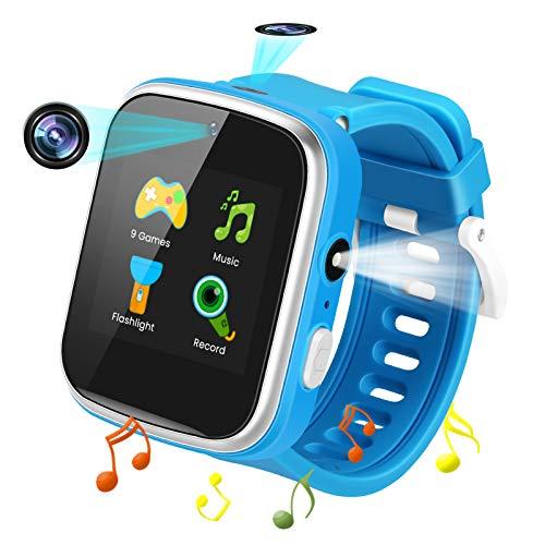 Reloj Inteligente para Niños de 2 Cámaras con 9 Juegos,Smart Watch con MP3 Música und Linterna-1.54 Pantalla Táctil en Color Relojes Inteligentes HD Deporte Reloj de Pulsera 3-12 Niños Años Cumpleaño