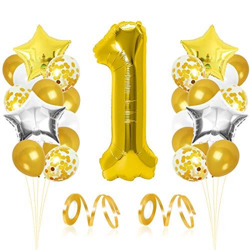 Bluelves Luftballon 1. Geburtstag Gold, Geburtstagsdeko Junge Mädchenn 1 Jahr, Happy Birthday Folienballon, Deko 1 Geburtstag Junge Mädchen, Riesen Folienballon Zahl 1, Ballon 1 Deko zum Geburtstag