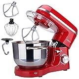 Arebos Batidora Amasadora Multifunción 1500W | Rojo | Recipiente de acero inoxidable de 6 L | Robot de Cocina con 3 herramientas Gancho para Amasar, Varillas, Gancho para mezclar | 6 Velocidade