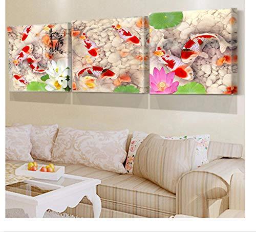 ZKPYY 5D-diamantschilderij met strass-steentjes, Chinese kleur, voor aquarium, koi-aquarium 40 * 60x3pcs
