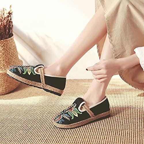 GaYouny Zapatos Bordados Mujeres Hechas a Mano Lienzo Transpirable Espadrilles Mocasines Floral Bordados señoras resbalones en Zapatillas Zapatillas de Plataforma de cáñamo